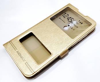 Чехол книжка с окошками momax для Meizu 16 Plus золотой