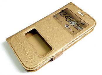 Чехол книжка с окошками momax для Motorola Moto G X1032 1st. gen. (2013) золотой