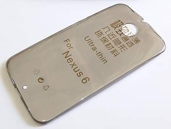 Чехол для Motorola Nexus 6 силиконовый ультратонкий прозрачный серый