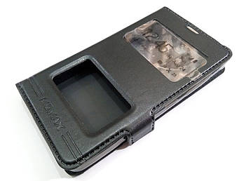 Чехол книжка с окошками momax для Microsoft Lumia 430 Dual SIM черный