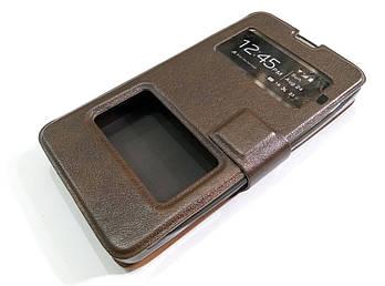 Чехол книжка с окошками momax для Microsoft Lumia 430 Dual SIM коричневый