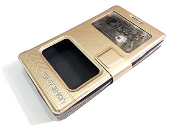 Чехол книжка с окошками momax для Microsoft Lumia 435 золотой