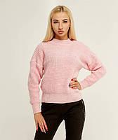 Розовый вязаный теплый свитер с объемным рукавом 20% шерсть (универсальный (S/L))