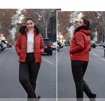 / Размер 50,52,54,56,58,60,62 / Женский очень тёплый костюм-двойка большого размера / 815-Красный