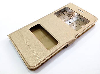 Чехол книжка с окошками momax для Nokia 5 золотой