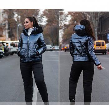 / Размер 50,52,54,56,58,60,62 / Женский очень тёплый костюм-двойка большого размера / 815-Синий