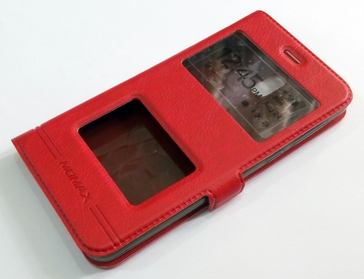 Чехол книжка с окошками momax для Nokia 2 красный