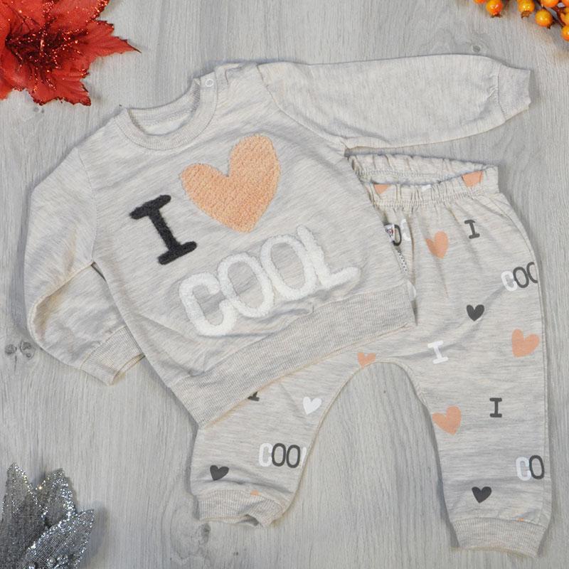 """Детский трикотажный """"I COOL"""" костюм, (батник+штанишки), размер:6-18 мес (3 ед в уп)"""