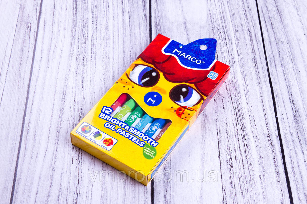 "Крейда ""Marco"" масляна основа №1100OP/12, 12 кольорів/упаковка, крейда дитячі пастель"