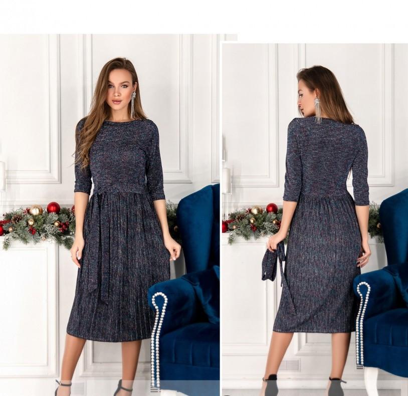 / Размер 42,44,46,48 / Женское элегантное нарядное платье с люрексом 1068Н-Синий