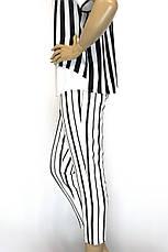 Жіночі білі в чорну полоску брюки з високою талією, фото 2
