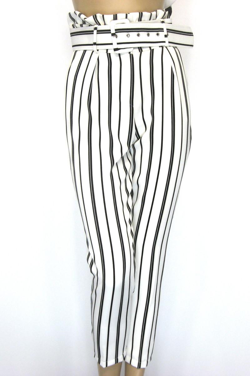 Жіночі білі в чорну полоску брюки з високою талією
