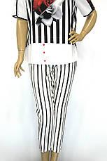 Жіночі білі в чорну полоску брюки з високою талією, фото 3