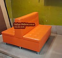 Подвійний диван для кафе помаранчевий, фото 1