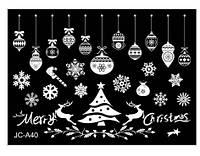 """Новогодние силиконовые наклейки на окна """"Новогодние олени и шары"""" (в наборе 2 листа размером 53*37см)"""