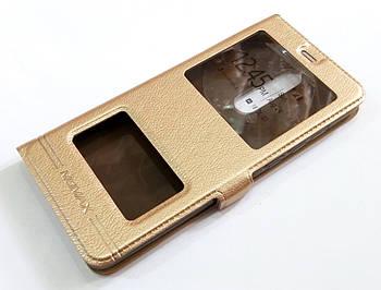 Чехол книжка с окошками momax для Nokia 5.1 золотой
