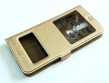 Чехол книжка с окошками momax для Nokia 5.1 Plus / Nokia X5 золотой