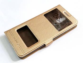 Чехол книжка с окошками momax для Nokia 3.1 золотой