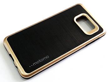 Чехол противоударный Motomo для Samsung Galaxy A3 A310 (2016) черный с золотым