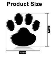 Зеркальные наклейки лапки животных 6*6см набор 2шт цвет черный, фото 3