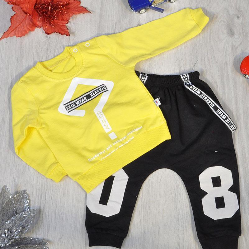 Детский костюм: батник и штаны из трикотажа, для мальчиков 6-12-18 мес  (3 ед в уп)