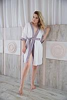 Халат жіночий, білий сатин