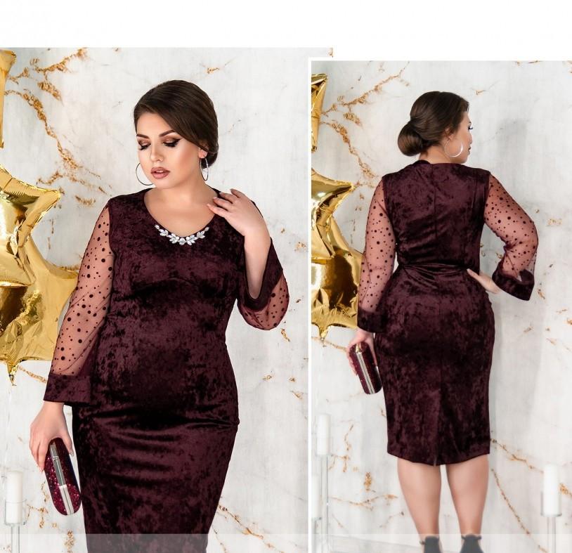 / Размер 58,60,62,64 / Женское элегантное вечернее платье из велюра 487Б-Бордо