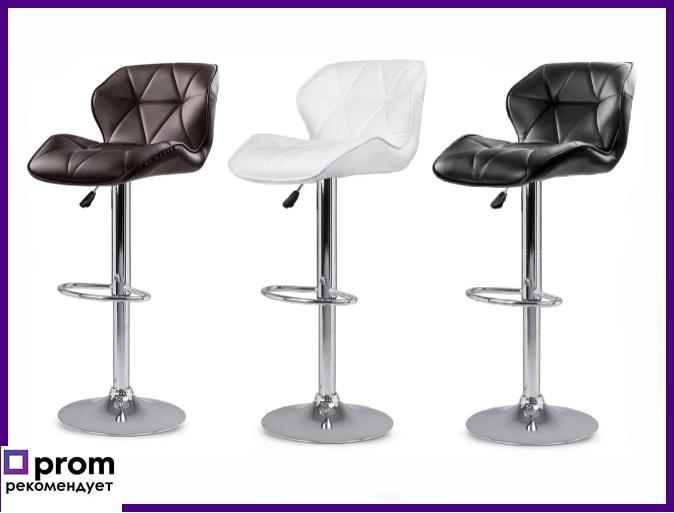 """Барний стілець Hoker з поворотом сидіння 360 градусів і підставкою для ніг """"Чорний/Білий"""