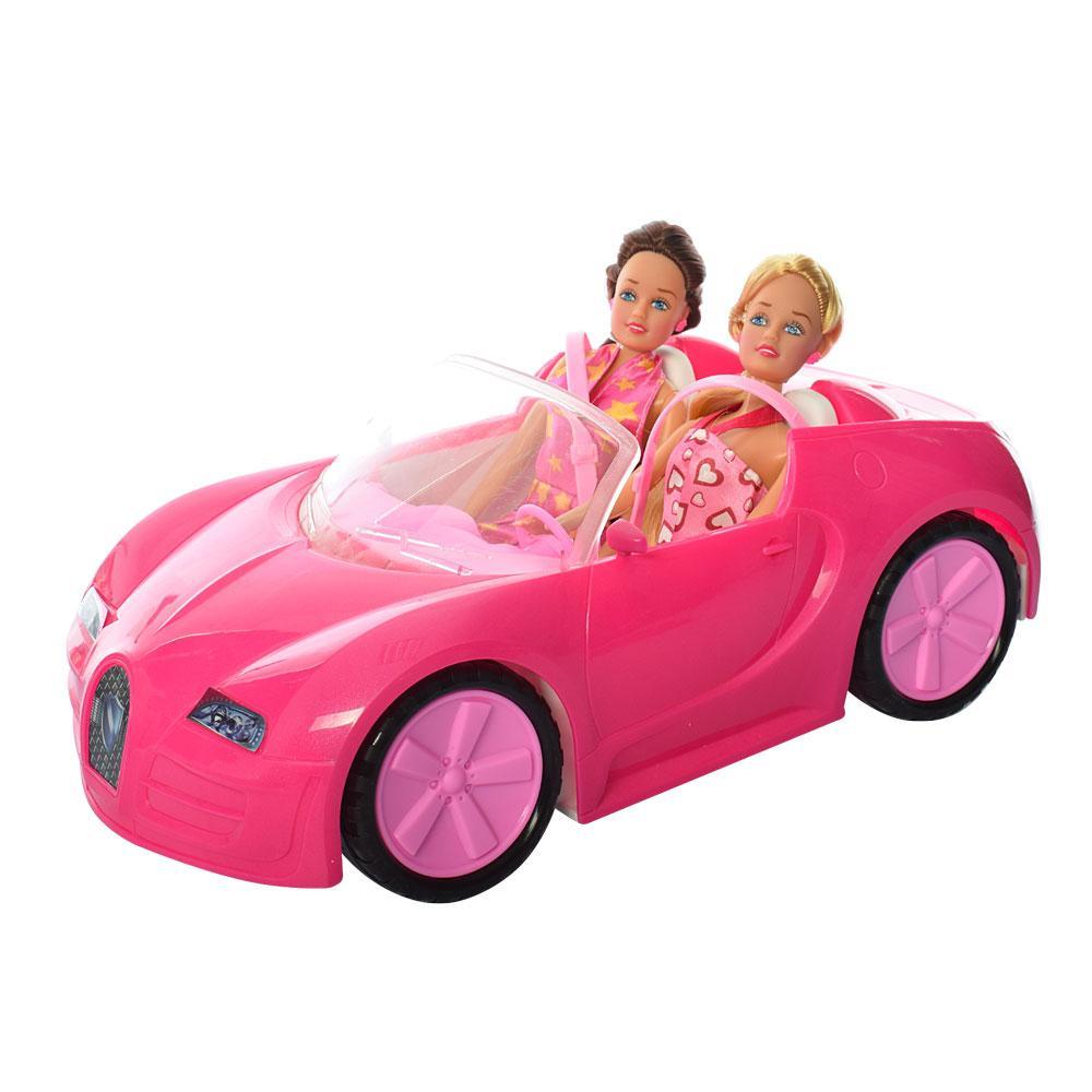 Набор кукол в розовой машинке LF18 с животными и велосипедом