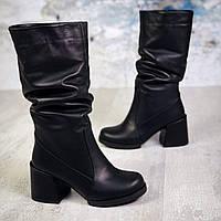 Зимние кожаные сапоги  на каблуке 36-40 р чёрный, фото 1