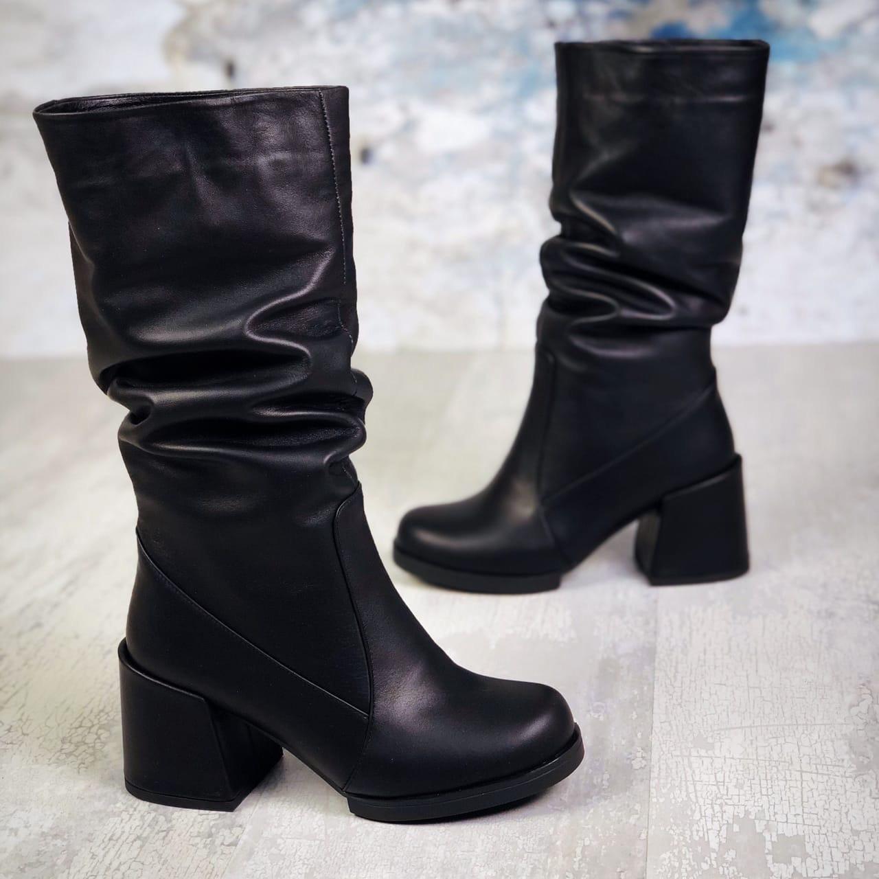 Зимние кожаные сапоги  на каблуке 36-40 р чёрный
