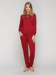 Жіночий домашній костюм Serenade бордовий з мереживом