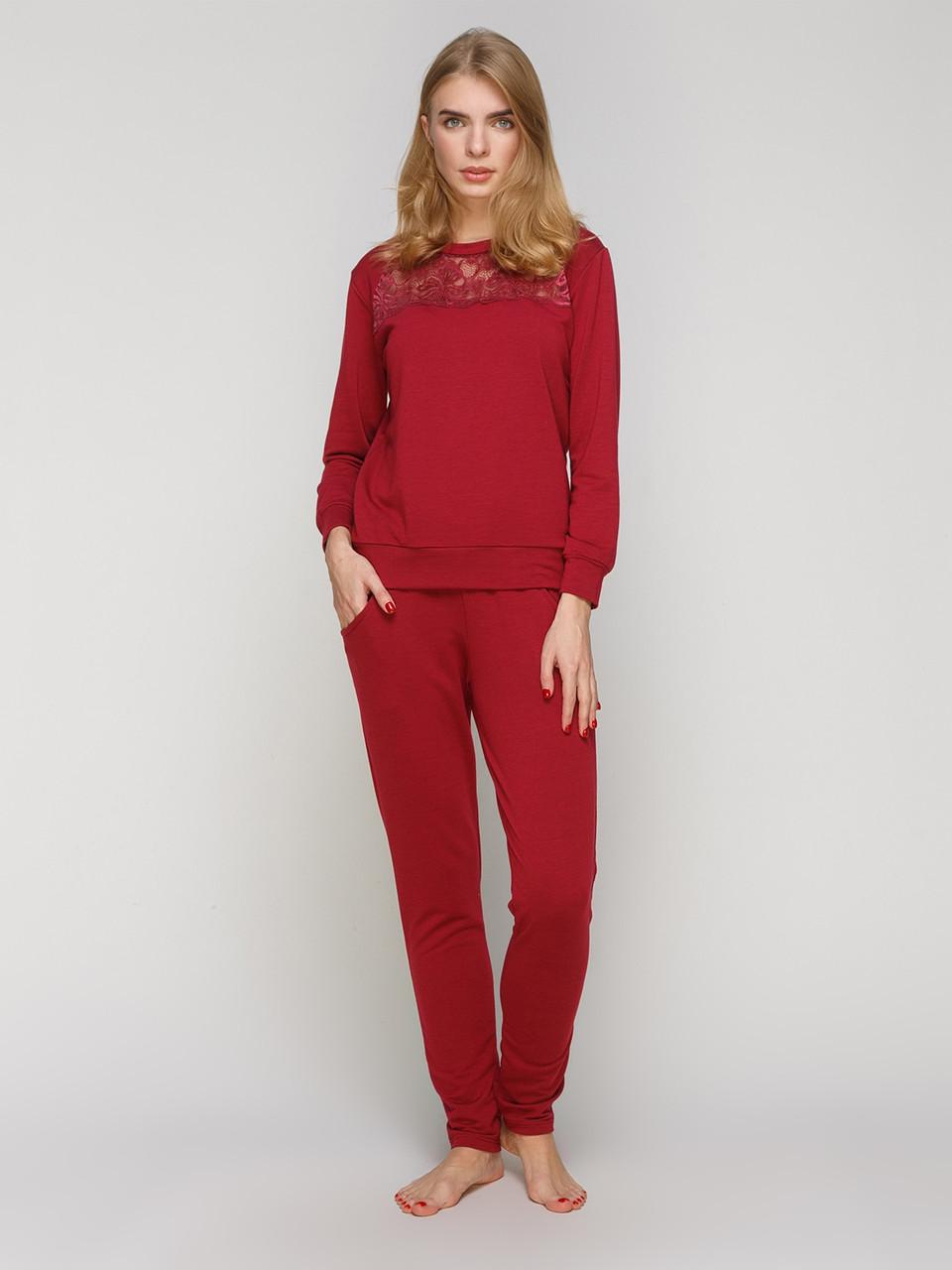 Женский домашний костюм Serenade бордовый с кружевом