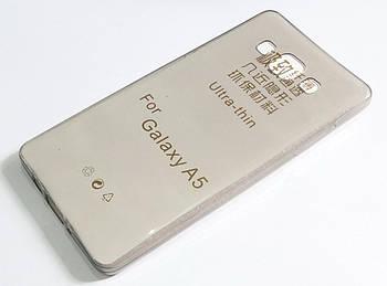 Чехол для Samsung Galaxy A5 Duos a500h (2015) силиконовый ультратонкий прозрачный серый
