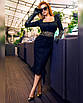 Облегающее платье футляр миди силуэтное сексуальное с декольте на пуговицах черное красное, фото 2