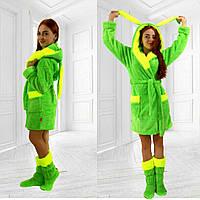Затишний жіночий домашній яскравий неоновий махровий жіночий комплект: халат з вушками + чобітки для дому. Арт-4805, фото 1