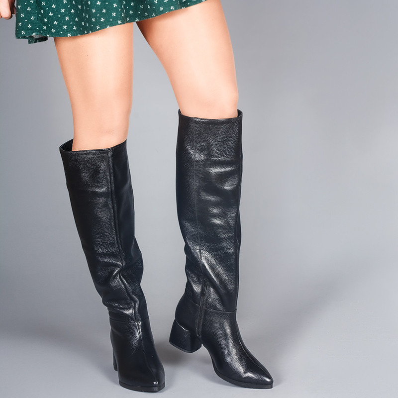 Кожаные женские сапоги на маленьком каблуке. Натуральная кожа и замша. Зима, деми. Пошив на любую голень.