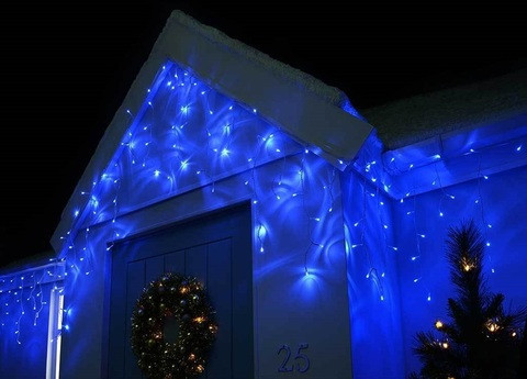 Гирлянда бахрома уличная 5*0.5м, 100 синяя