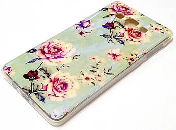 Чехол силиконовый с рисунком цветы для Samsung Galaxy A7 a700h (2015)
