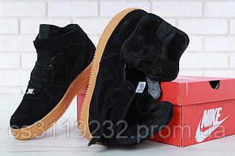 Жіночі кросівки Nike Air Force (хутро) (чорні)