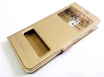 Чехол книжка с окошками momax для Samsung Galaxy A8 A530f (2018) золотой