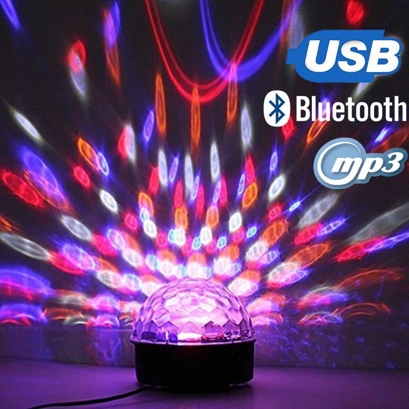 Светодиодныйдиско-шар ночник Crystal Magic Ball Light, Цветомузыка, MP3, USB, Bluetooth, Пульт