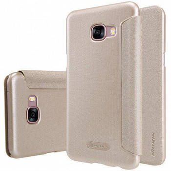 Чехол книжка Nillkin Sparkle Series для Samsung Galaxy C5 c5000 золотой