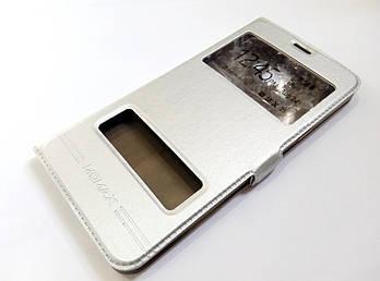 Чехол книжка с окошками для Samsung Galaxy C7 c7000 серебряный