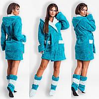Красивый уютный домашний женский короткий махровый халат на запах с капюшоном + махровые сапожки. Арт-4814, фото 1