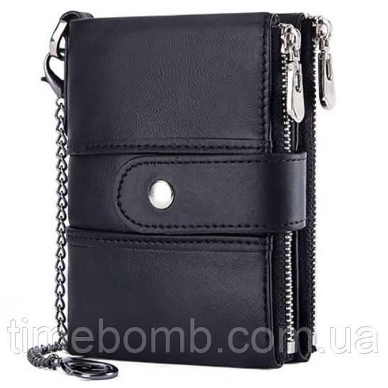Жіноче шкіряне портмоне Kavis чорне (з ланцюжком)