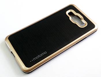 Чехол противоударный Motomo для Samsung Galaxy Grand Prime G530h черный с золотым