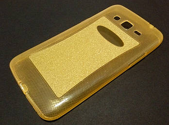 Чехол силиконовый с блестками для Samsung Galaxy Grand 2 G7102 / G7106 золотой