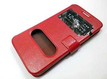 Чехол книжка с окошками для Samsung Galaxy Grand Max g720 красный