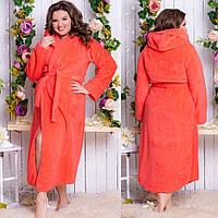 Жіночий домашній довгий махровий халат великих розмірів (р. 50-54) на запах з капюшоном і кишенями. Арт-4816, фото 1